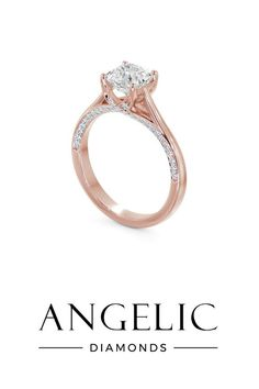 Stand out from the crowd with a unique engagement ring. This rose gold engagement ring features a stunning one-of-a-kind design.
