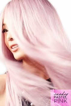 DIY pastel pink hair color with Feria Smokey Pastels dye. Feria Hair Color, Bold Hair Color, Hair Color For Black Hair, Hair Color Guide, Pastel Pink Hair, Bright Blonde, L'oréal Paris, Hair Today, Down Hairstyles