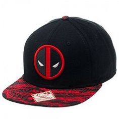 Marvel Deadpool Tigerstripe Camo Black Flatbill Snapback Hat Cap