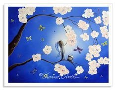 Love this little fairy painting her white blossoms on the tree. For 15% off signed fairy prints in my shop use this code today. ILOVEFAIRIES