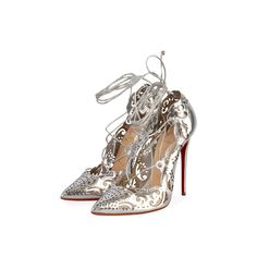 These gorgeous designer pumps are a true reflection of Christian Louboutin's classic collection, exuding modern elegance and class. Stiletto Heels, High Heels, Christian Louboutin Outlet, Silver Pumps, Designer Pumps, Silver Accessories, Classic Collection, Laser Cutting, Dust Bag