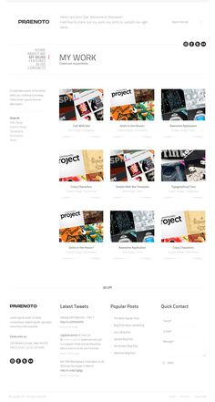 Praenoto - Clean & Minimalist Web Site Template - Screenshot 2. Gallery page with 3 columns.