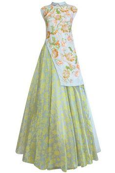 Asymmetrical cut kurthi wth skirt