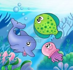 Illustration about Cute marine animals - color illustration. Illustration of marine, animals, artwork - 6588991 Barrel Of Monkeys, Nautical Colors, Sea Theme, Digi Stamps, Coloring For Kids, Under The Sea, Illustration, Clip Art, Fish