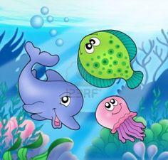 Resultados de la Búsqueda de imágenes de Google de http://us.123rf.com/400wm/400/400/clairev/clairev0810/clairev081000001/3642911-cute-animales-marinos--color-ilustracion.jpg