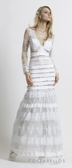 Christos Costarellos Bridal 2014 collection. Our 'BoHo' wedding dress with silk lace and 'cotton gross' stripes.