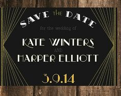 Vintage Art Deco Save the Date // 4x6 // 50 Printed sets or Diy Printable File