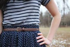 Striped & tiny polka dots combo (both with navy)