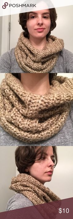 Tan cowl neck Scarf w/ gold shimmer In lightly used condition. **NON-SMOKING HOME** Cozy and warm.. great neck coverage for those especially chilly or windy days. Flattering look. Not interested in trades. H&M Accessories Scarves & Wraps