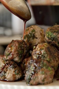 scallion meatballs with soy ginger glaze