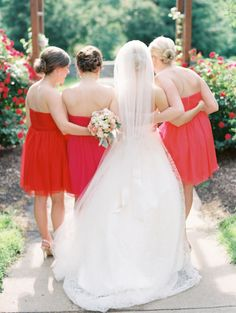 Hot Pink and Red Bridesmaids | photography by http://www.claryphoto.com/ | floral design by sistersflowers.net
