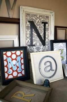 letters. would love to start doing this. purchase old frames at garage sales, find different sample paints on sale and print the letters in fun fonts and colors.