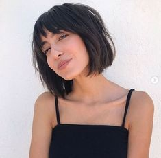 "Fringe Bob ""If you have a heart-shaped oval-shaped face, I recommend trying bangs,"" says Mancuso. ""They will work best with your face shape and give you a more youthful appearance."" When your hair is all one length, adding fringe creates a face-framing ef Hot Haircuts, Short Bob Haircuts, Haircuts With Bangs, Thick Bob Haircut, Fringe Bob Haircut, Chin Length Haircuts, Oval Face Haircuts, Chin Length Bob, Layered Bob Hairstyles"