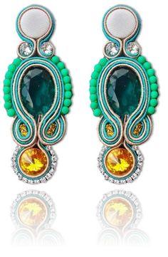 #Soutache #earrings, Soutache #jewerly, #handmade jewerly, #bijoux, #orecchini, #pendientes #fashion #design #madeinitaly #swaroski - VANITAS EARRINGS