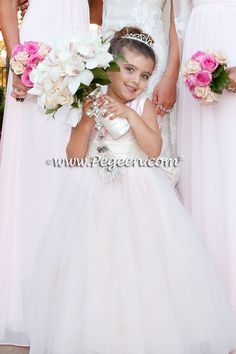 Flower girl dresses of the year Style 402 - Degas Style Tulle Flower Girl Dress in Ballet Pink and Bisque or Ivory Flower Girl Wreaths, Flower Girl Crown, Girls Dresses, Flower Girl Dresses, Wedding Of The Year, Degas, Pink Tulle, Formal Wedding, Ivory