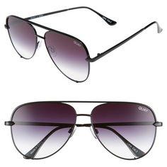 Women's Quay Australia X Desi Perkins 'High Key' 62Mm Aviator... (€55) ❤ liked on Polyvore featuring accessories, eyewear, sunglasses, black fade to clear, metal sunglasses, quay eyewear, clear lens glasses, clear sunglasses and clear eyewear
