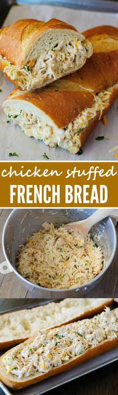 stuffed french bread is always a winner. The chicken mixture is so flavorful!This stuffed french bread is always a winner. The chicken mixture is so flavorful! Think Food, I Love Food, Good Food, Yummy Food, Tasty, Great Recipes, Favorite Recipes, Game Recipes, Lunch Recipes