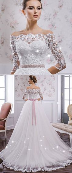 NEW! Fantastic Tulle Bateau Neckline A-line Wedding Dress With Lace Appliques & Belt