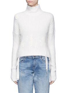 HELMUT LANG Ribbon embroidery angora blend sweater. #helmutlang #cloth #罗缎布饰混安哥拉兔毛针织衫