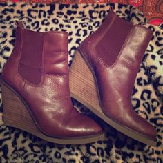 Lucky Brand Brown leather boots Brand New Lucky Brand brown/ Burgundy tint leather wedge boots. Never worn outside, only tried on a few times. Excellent condition. Very Comfortable.  Size 8. Lucky Brand Shoes Ankle Boots & Booties