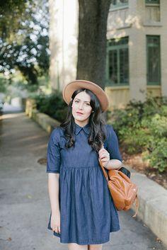 Denim Perfect by Curious Natalia | Asos Babydoll Denim Dress, Urban Outfitters Chelsea Boot, Asos Cognac Backpack.  Photos by Amanda Lenhardt Photography