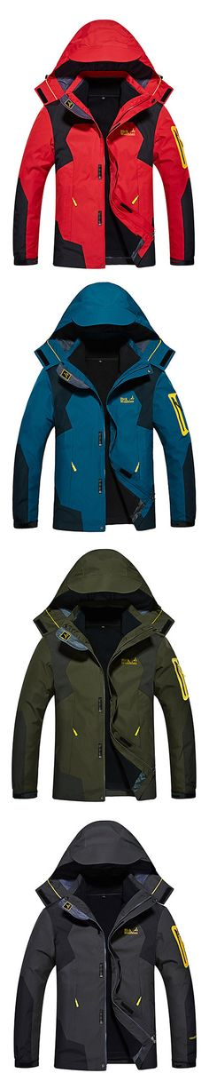Plus Size Two Peices Jackets Climbing Breatahble Raining Detachable Hood Jackets for Men