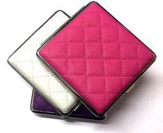 QUILTED PADDED LARGE KING SIZE PURPLE WHITE PINK CIGARETTE CASE with GIFT BOX