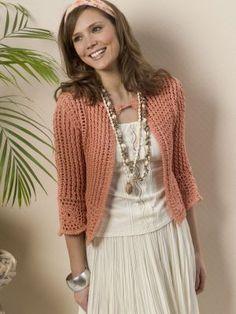 Crochet Turnberry Cardigan.  Caron.com.  Free pattern