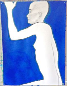 "2013, charcoal, acrylic paint on paper, 30"" x 22"" (my little iPhone camera is disappointing. actually the manganese blue outline jumps out from the ultramarine blue)"