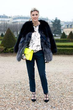 black and gray fur coat + silver sequin top + black pants + black Valentino heels + neon yellow purse