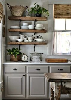 35 Charming Provence-Styled Kitchens You'll Never Want To Leave  Open shelves                                                                                                                                                                               More