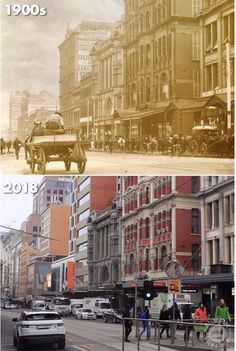 Flinders Street, Melbourne - Then and Now Places In Melbourne, Melbourne Suburbs, Melbourne Victoria, Victoria Australia, Then And Now Photos, Australian Continent, Perth Western Australia, Old Photos, Vintage Photos