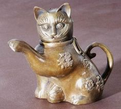 Unusual Brass Chinese Cat Teapot
