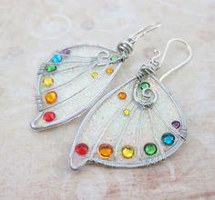 Sihaya Designs Faery Wing Earrings Rainbow by SihayaDesigns, $46.00
