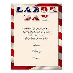 Patriotic Flag Labor Day Party Invitation