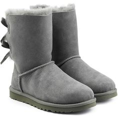 UGG Australia Bailey Bow Suede Boots (£140) ❤ liked on Polyvore featuring shoes, boots, uggs, grey, bow boots, suede leather boots, rounded toe boots, ugg australia boots and grey suede boots