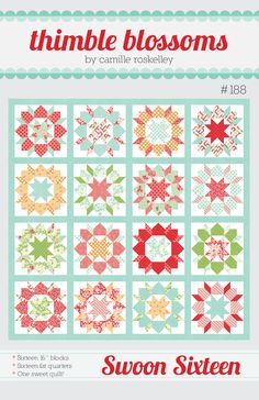 """Finished Quilt: 74"""" x 74"""" 16"""" block Fabric Required: 16 fat quarters for blocks…"""