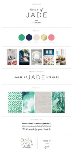House of Jade Interiors Branding Board | By http://www.octoberink.com