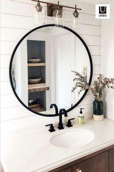 Home Remodeling, Small Bathroom Decor, Round Mirror Bathroom, Bathroom, Half Bathroom, Farmhouse Bathroom Mirrors, Bathrooms Remodel, Bathroom Design, Bathroom Decor