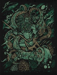 "Kraken Battle is an illustration by Nashville-based graphic designer and artist Derrick Castle (Straw Castle"") that portrays the Greek god Poseidon fighting a giant kraken. Prints are available to purchase online at Warpaint Press.    image via Derrick Castle"