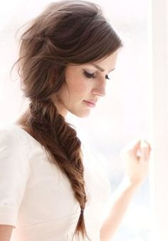 Fishtail Braid (side swept hair)
