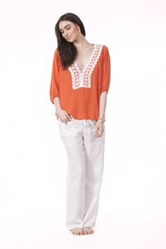 White Label NOBA — Harriet Top in Orange & Coconut, Boo Linen Pants
