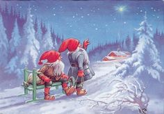 I love this painting...how sweet. Nisse looking toward the Christmas star hanging over a home in freshly fallen snow.