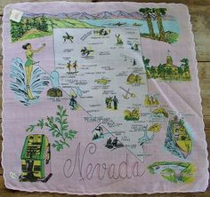 Nevada state map [handkerchief / scarf]   I want this framed.