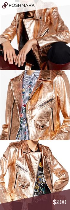 Zara rose gold leather jacket biker motorcycle Rose gold metallic jacket. New. No trades. Offers using the offer button only Zara Jackets & Coats
