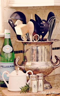 Champagne Bucket Utensil Holder Redesign The Art of Shopping Your Own Home Kitchen Redo, Kitchen Remodel, Vintage Silver, Antique Silver, Kitchen Vignettes, Kitchen Display, Sweet Home, Champagne Buckets, By Any Means Necessary