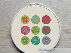cross stitch pattern snowflakes winter christmas by Happinesst