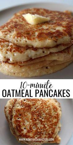 Healthy Oatmeal Breakfast, Clean Eating Breakfast, Sweet Breakfast, Healthy Breakfast Dishes, Healthy Oatmeal Recipes, Breakfast Pancakes, Healthy Breakfasts, Breakfast Casserole, Oatmeal Pancakes No Flour