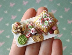 I'm pretty sure this is not edible ... RIGHT?! awesome craftmanship --> Miniature Food - Pink and Green Birthday Tray #2 by PetitPlat - Stephanie Kilgast, via Flickr