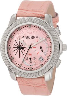 Akribos XXIV Women's AKR438P Ultimate Quartz Chronograph Diamond Pink Dial Watch ** Visit the image link more details.